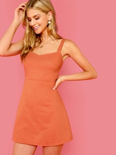 Fit & Flare Solid Strap Dress