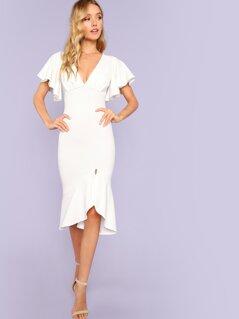Form Fitting Slit Ruffle Hem Dress
