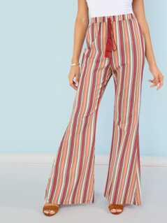 High Waist Stripe Flare Pants