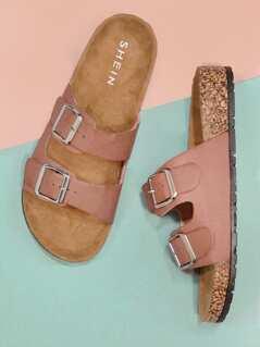 Double Buckled Cork Footbed Slide Sandals