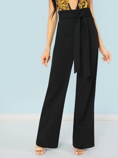 Tie Waist Wide Leg Dress Pants