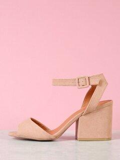 Faux Suede Ankle Strap Black Heels