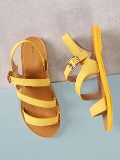 Asymmetrical Band Ankle Strap Flat Sandal