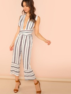 Striped Self-Tie Wrap Jumpsuit
