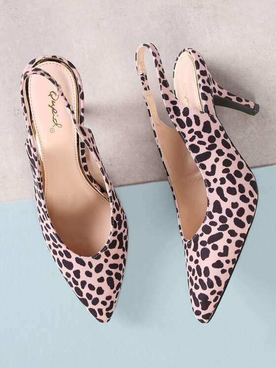 27f8710a93e Faux Suede Leopard Print Pointed Toe Sling back Pumps