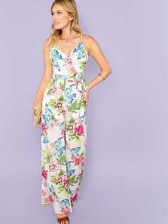 Flower Print Wrap Cami Jumpsuit