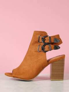 Faux Suede Peep Toe Buckled Chunky Heel Booties