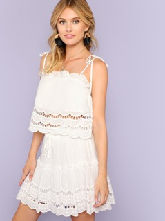 Scalloped Crop Top and Skirt Set