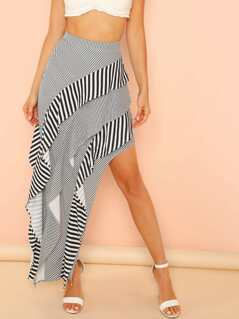 Asymmetric Stripe Tiered Skirt