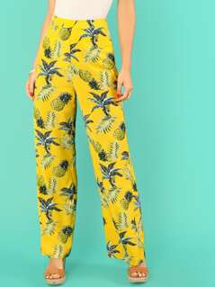 Botanical Print Straight Leg Pants