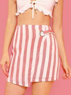 O-Ring Snap Button Side Striped Skirt