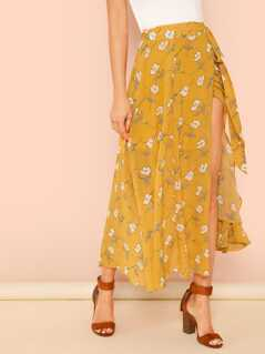 Tie Waist Split Floral Skirt