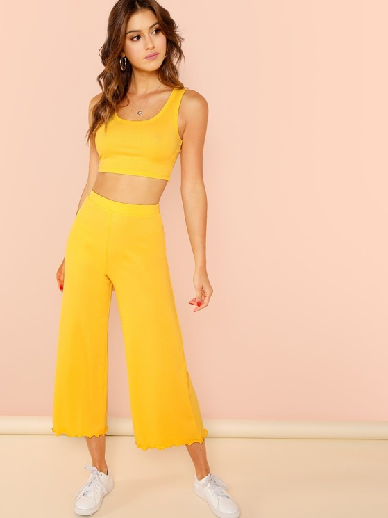 98893046aff5c Rib Knit Tank Top and Lettuce Trim Palazzo Pants Set
