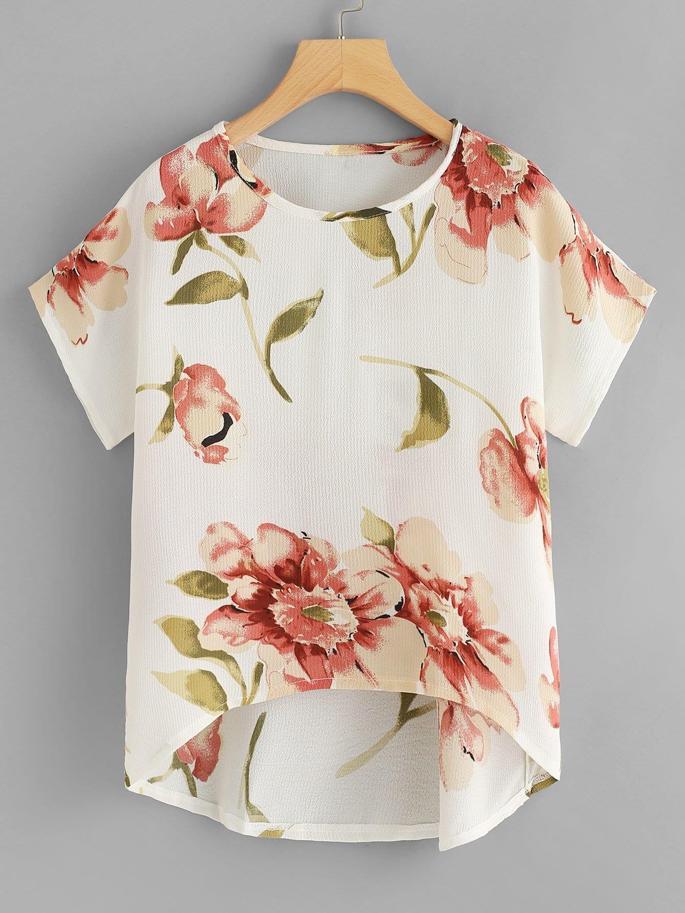 Купить Модный асимметричный шифоновый топ с цветочным принтом, null, SheIn
