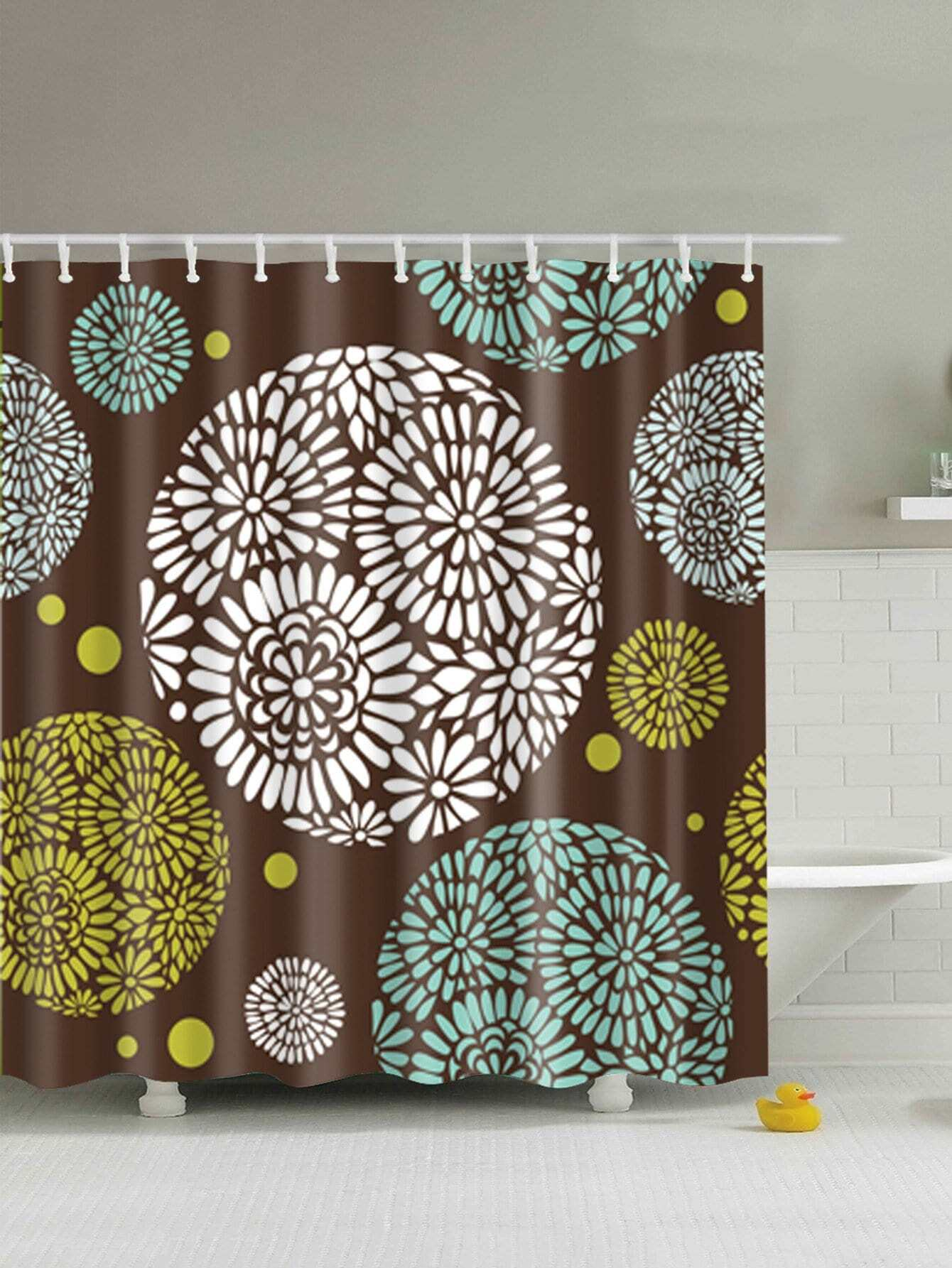 Floral Shower Curtain With 12pcs Hook geometric shower curtain with 12pcs hook