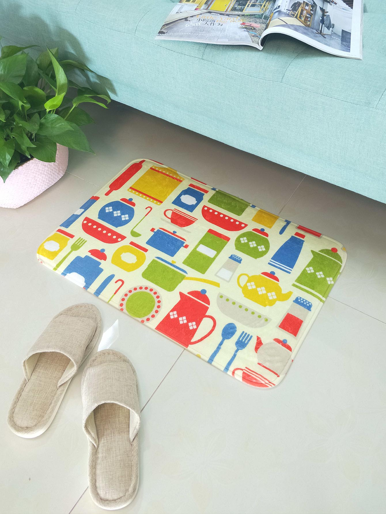 Kitchen Tools Print Floor Mat random tableware print kitchen mat 1pc
