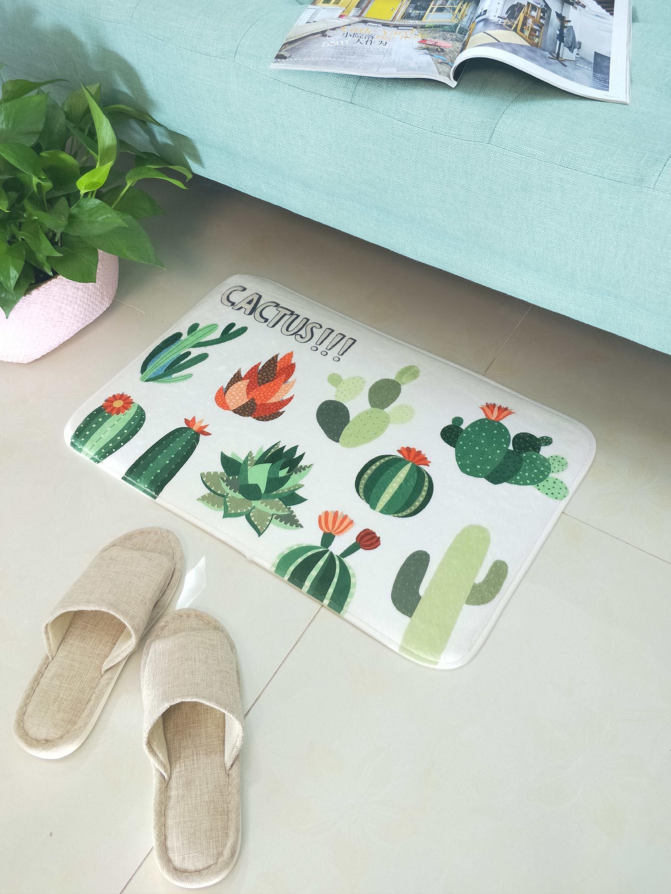 Купить Cactus Print Floor Mat, null, SheIn