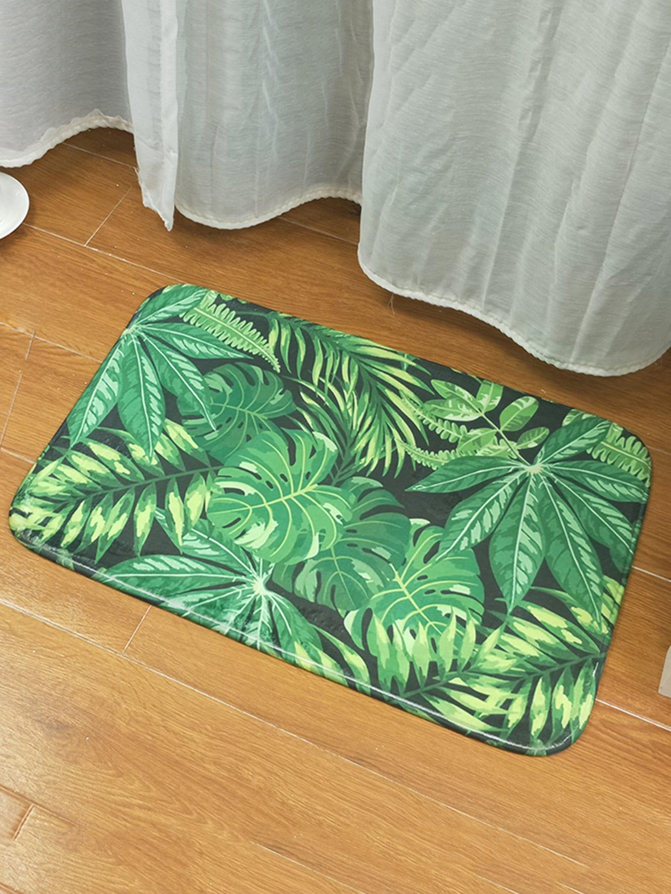 Купить Печатный коврик для тропических листьев, null, SheIn