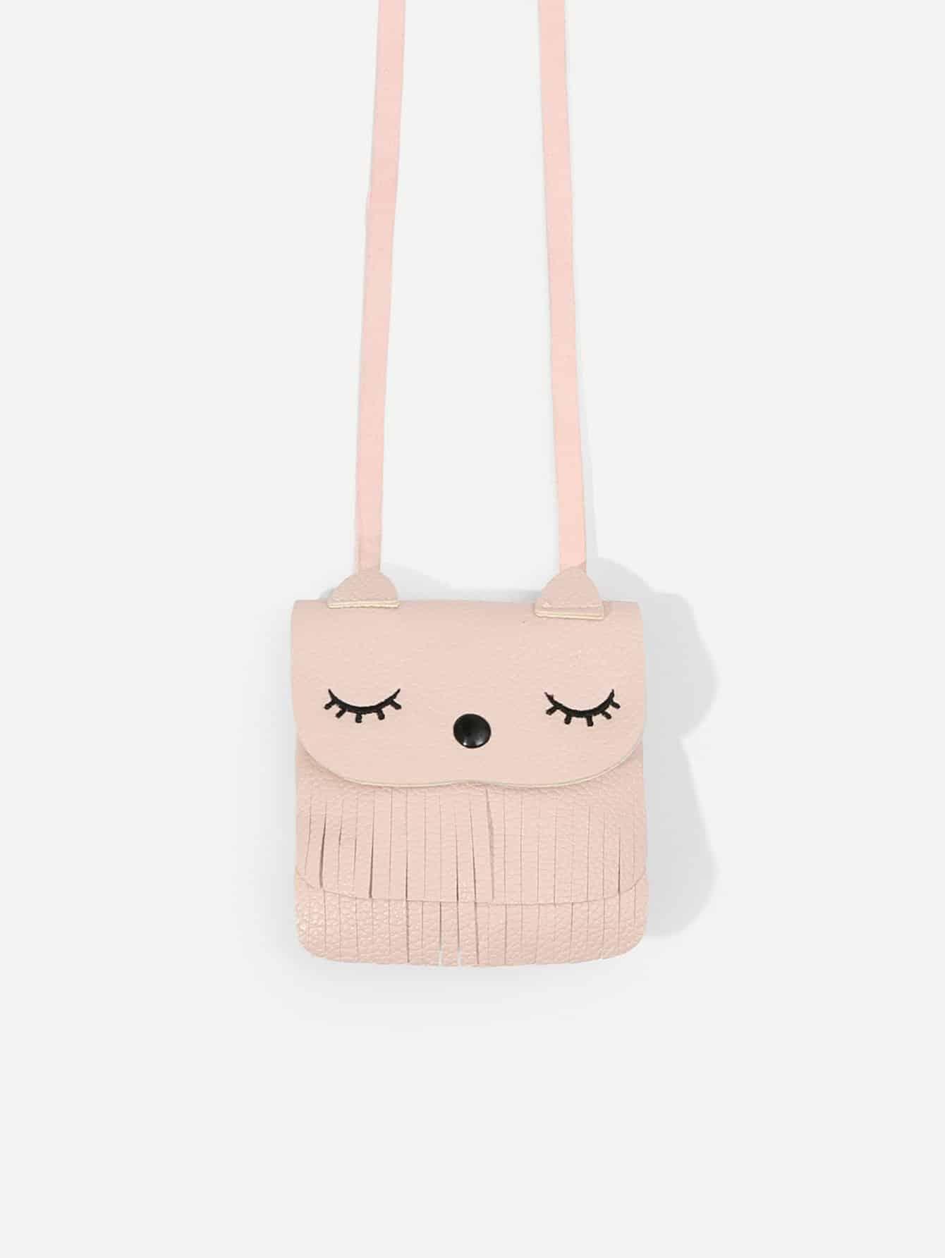 Girls Tassel Flat PU Crossbody Bag