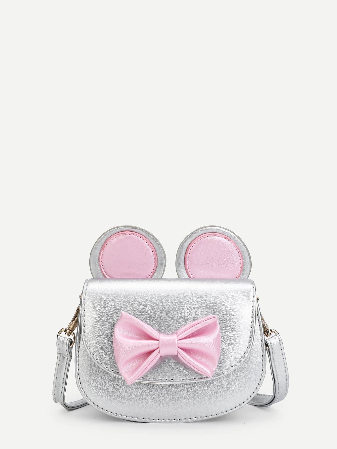 Girls Bow Front PU Flap Bag ring front flap shoulder bag