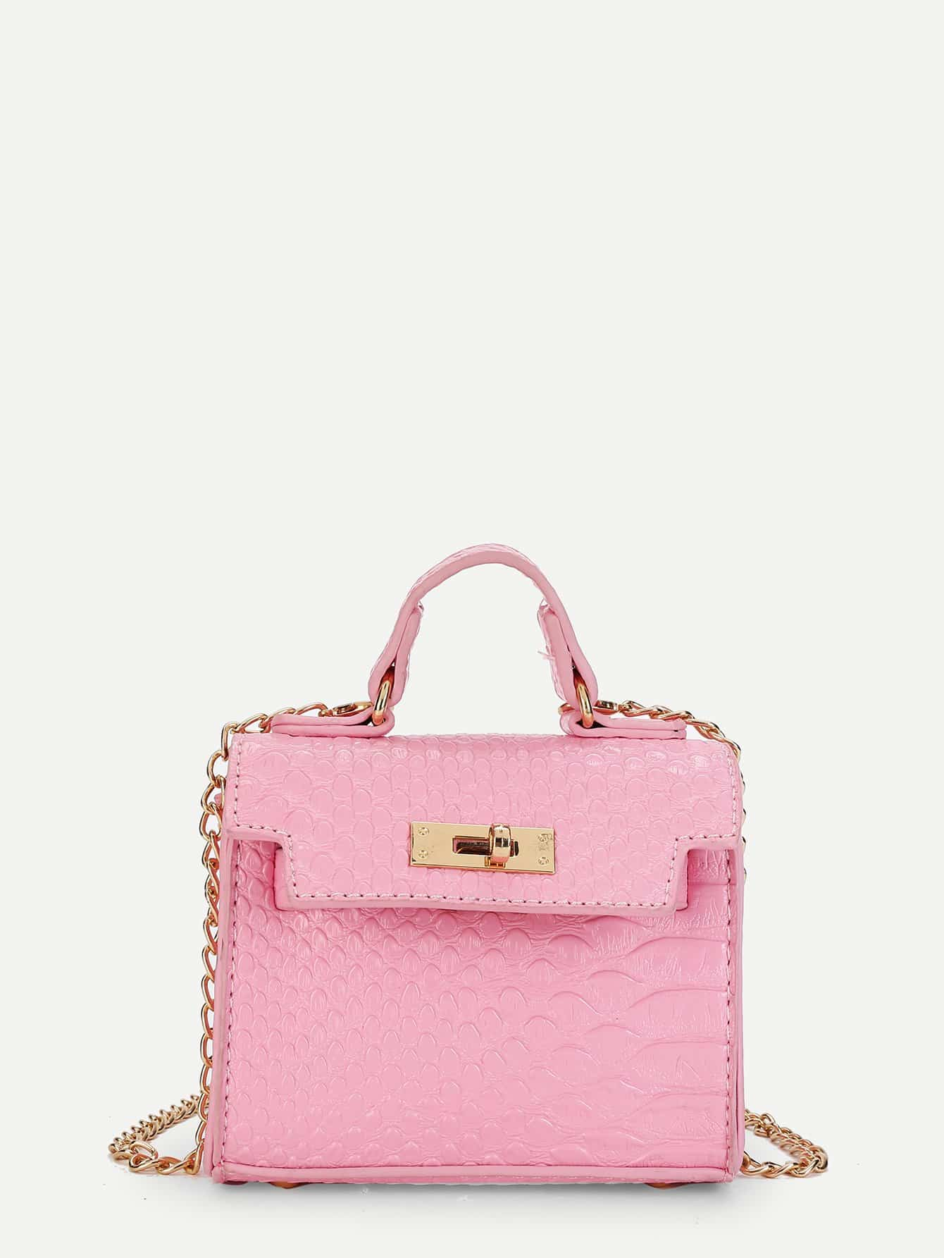 Girls Twist Lock Chain Crossbody Bag