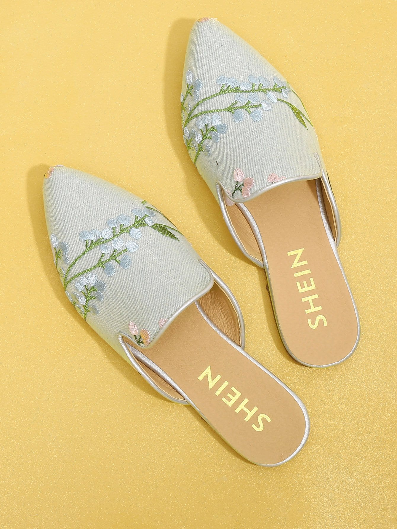 Calico Embroidered Denim Mule Flats цена 2017