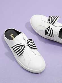Striped Bow Design PU Sneakers