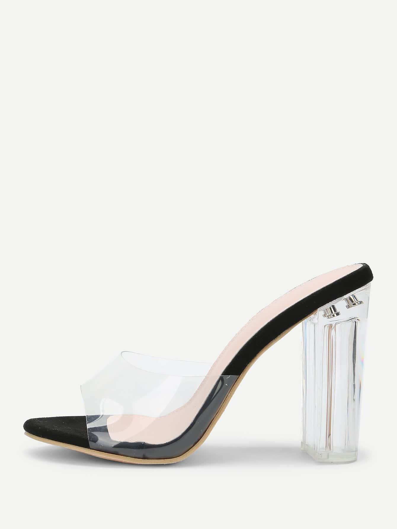 Clear Design Block Heeled Pumps rhinestone design block heeled pumps