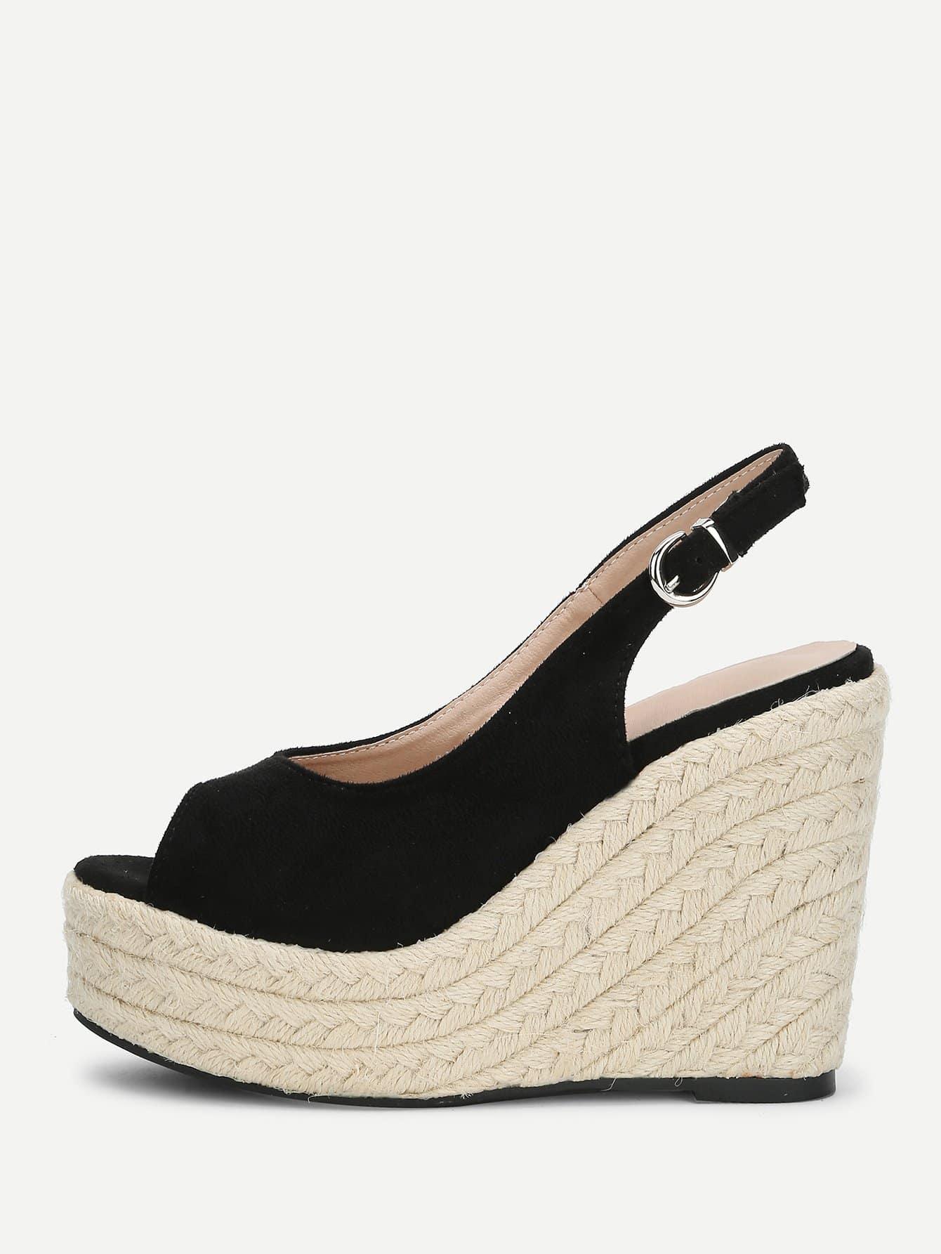 Peep Toe Slingback Woven Sandals