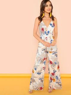 Surplice Floral Print Wide Leg Jumpsuit