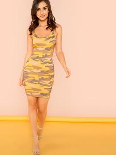 Camo Print Strapless Mini Dress with Lattice Back