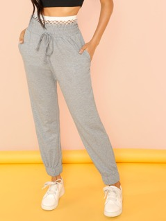 Paper bag Waist Sweatpants with Fishnet Detail