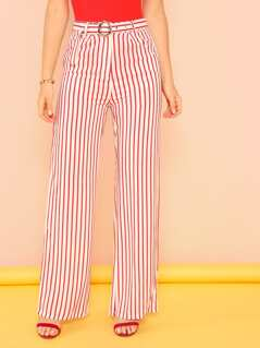Stripe Wide Leg Pants with Belt