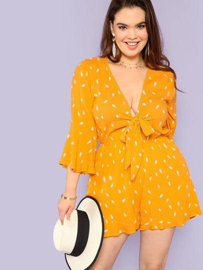 Polka Dot Tie Front Romper with Bell Sleeves