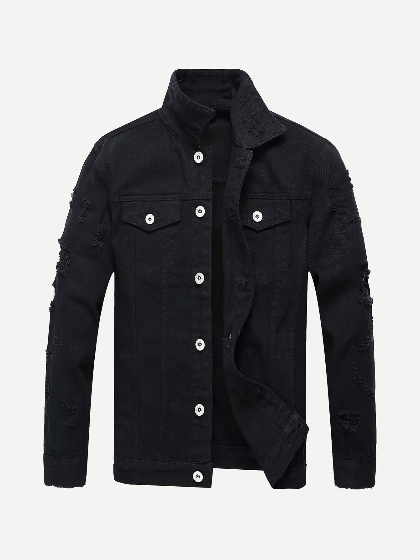 Мужчины Разорвал Сплошной Деним Куртка