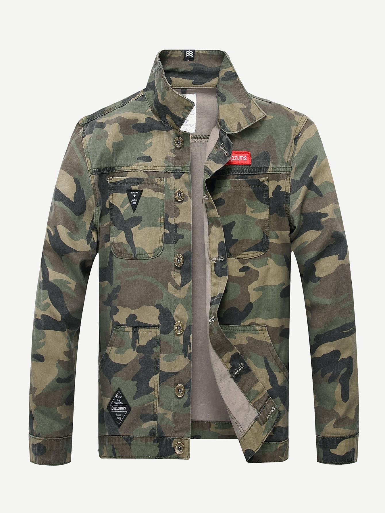 Мужчины Камуфляж Куртка Джинсовая