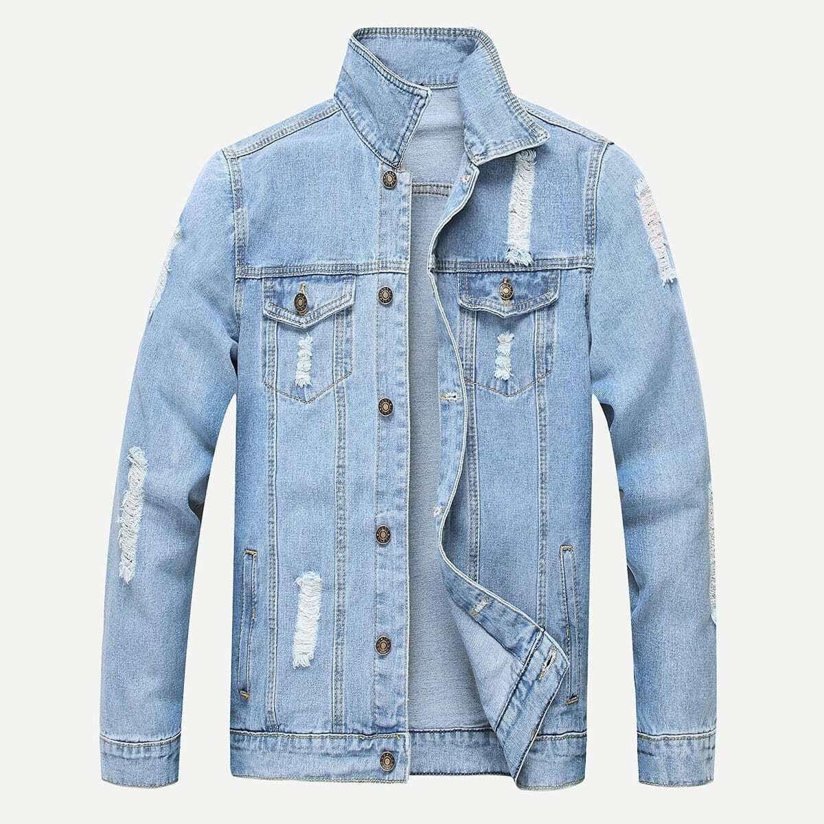 Blauw Casual Vlak Heren Jeans jassen Gescheurd