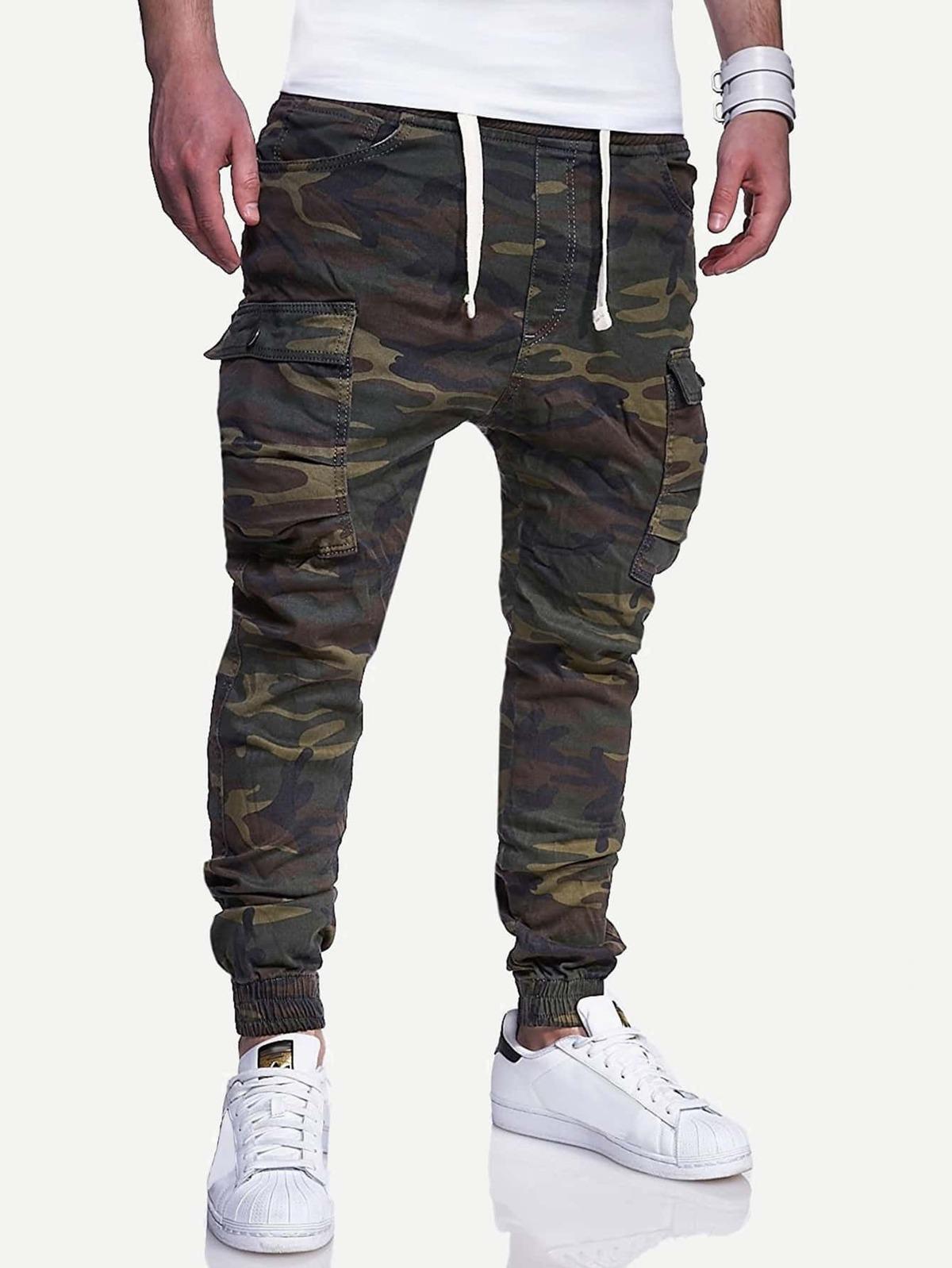 男人 口袋 裝飾 迷彩色 圖片 褲