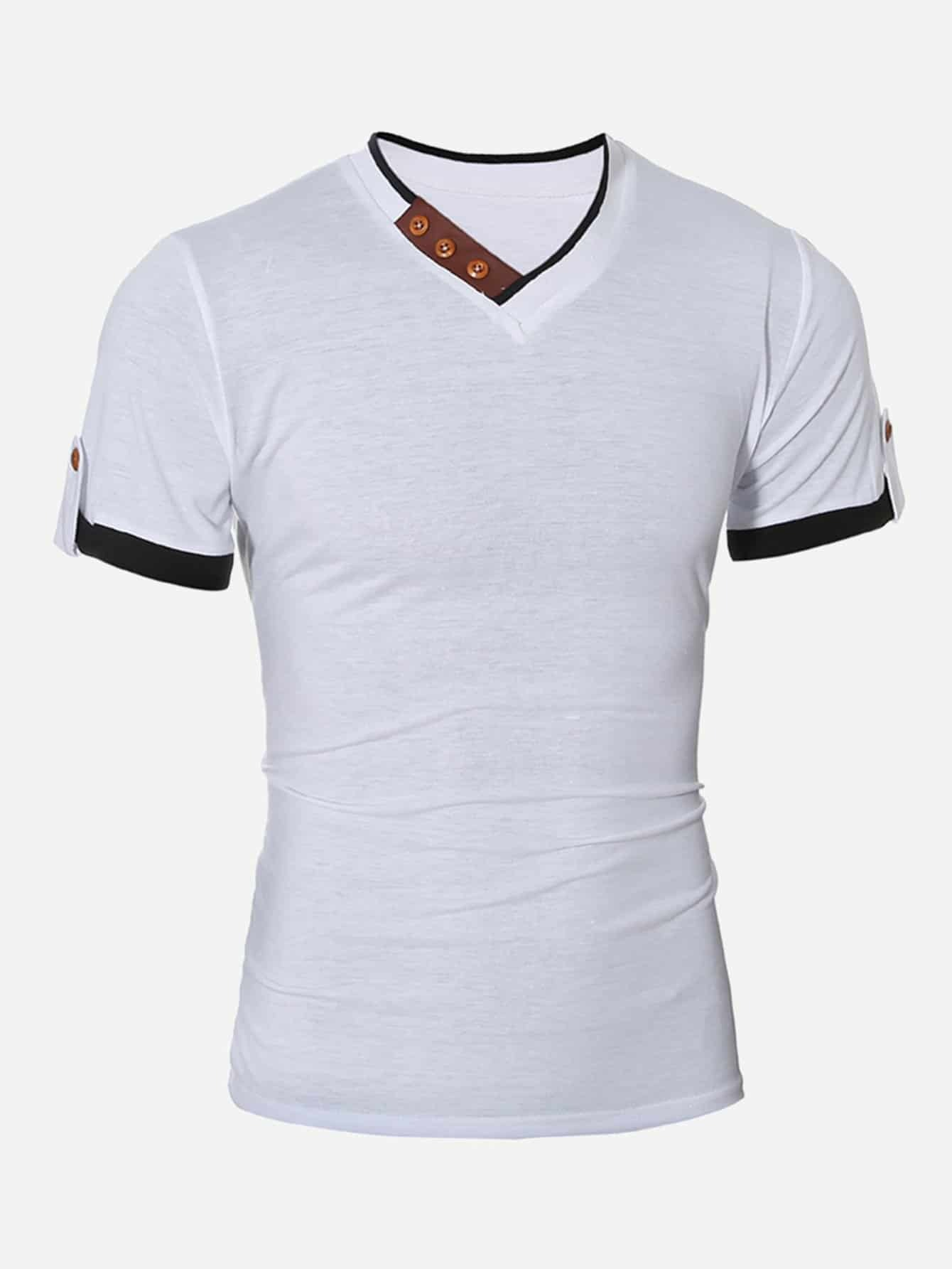 Men Button Detail Roll-up Sleeve Solid T-shirt