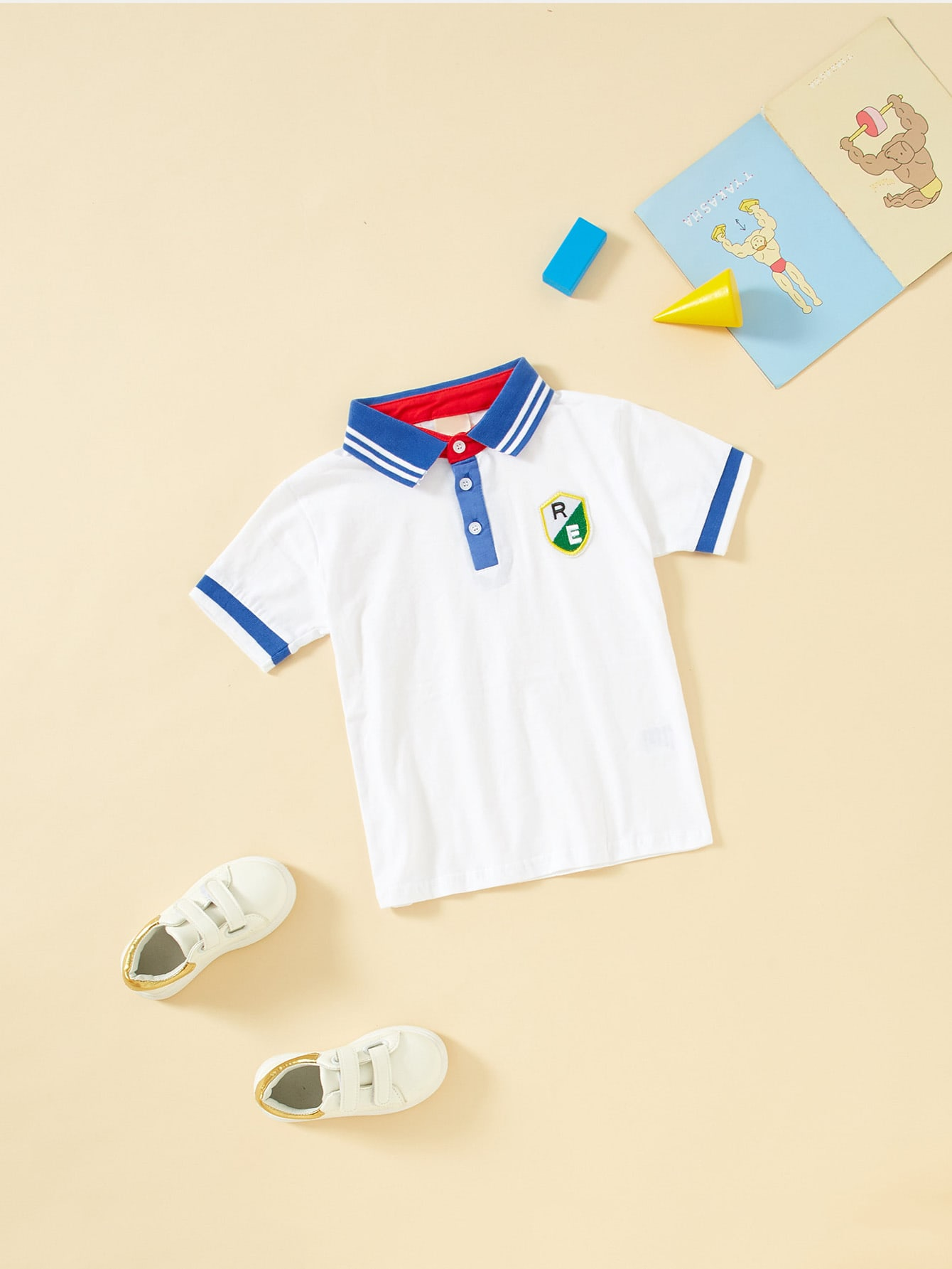 Boys Embroidery Detail Striped Neck Polo Shirt
