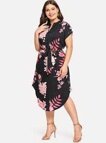Plus Self Tie Waist Curved Hem Dress