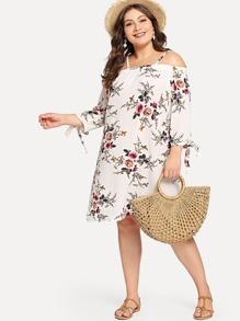 Plus Cold Shoulder Floral Print Dress
