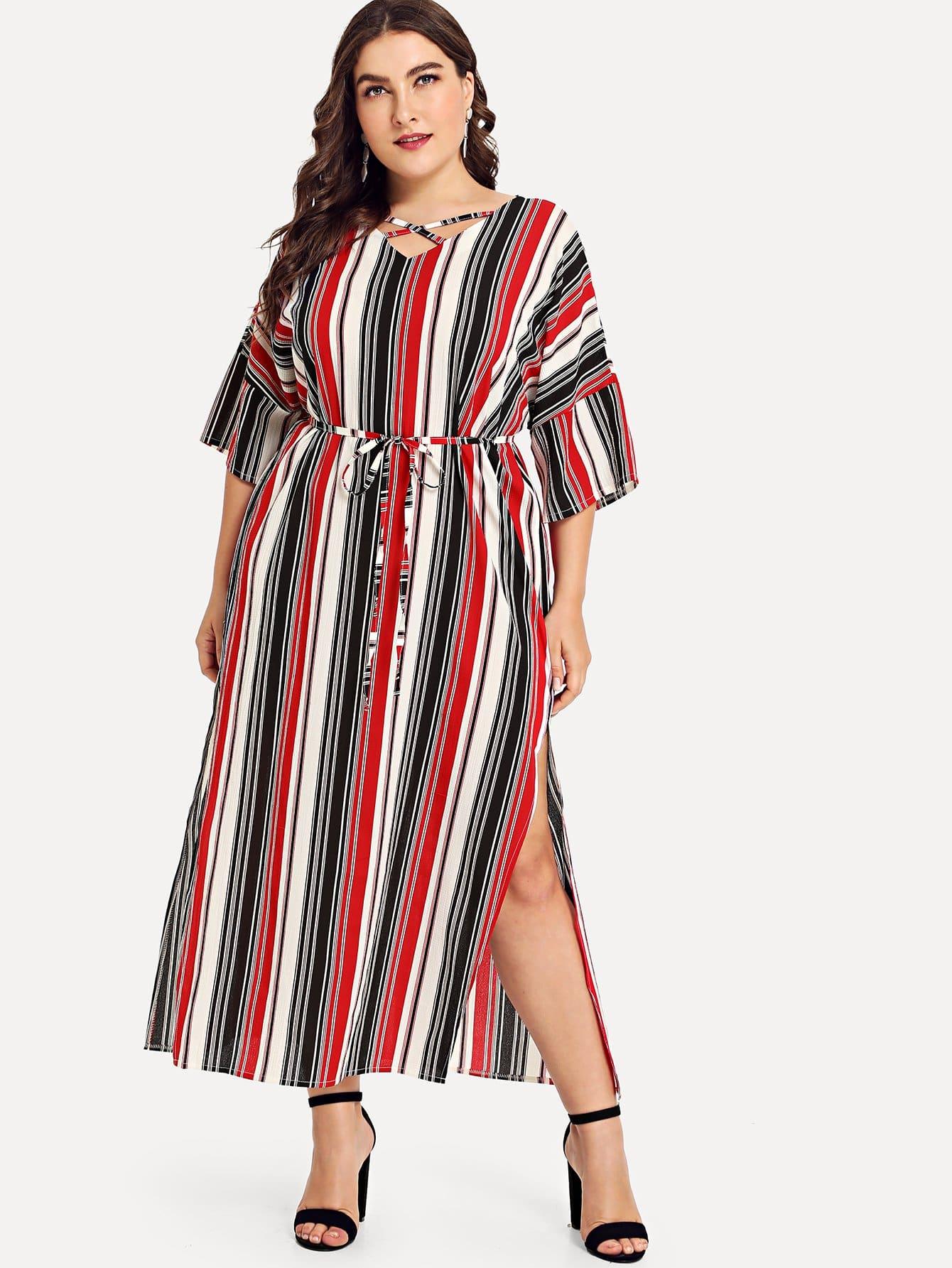 Plus Criss Cross Front Striped Dress empire waist criss cross front casual dress