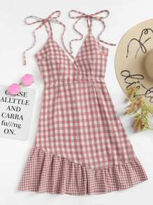 Knot Shoulder Ruffle Hem Checked Cami Dress