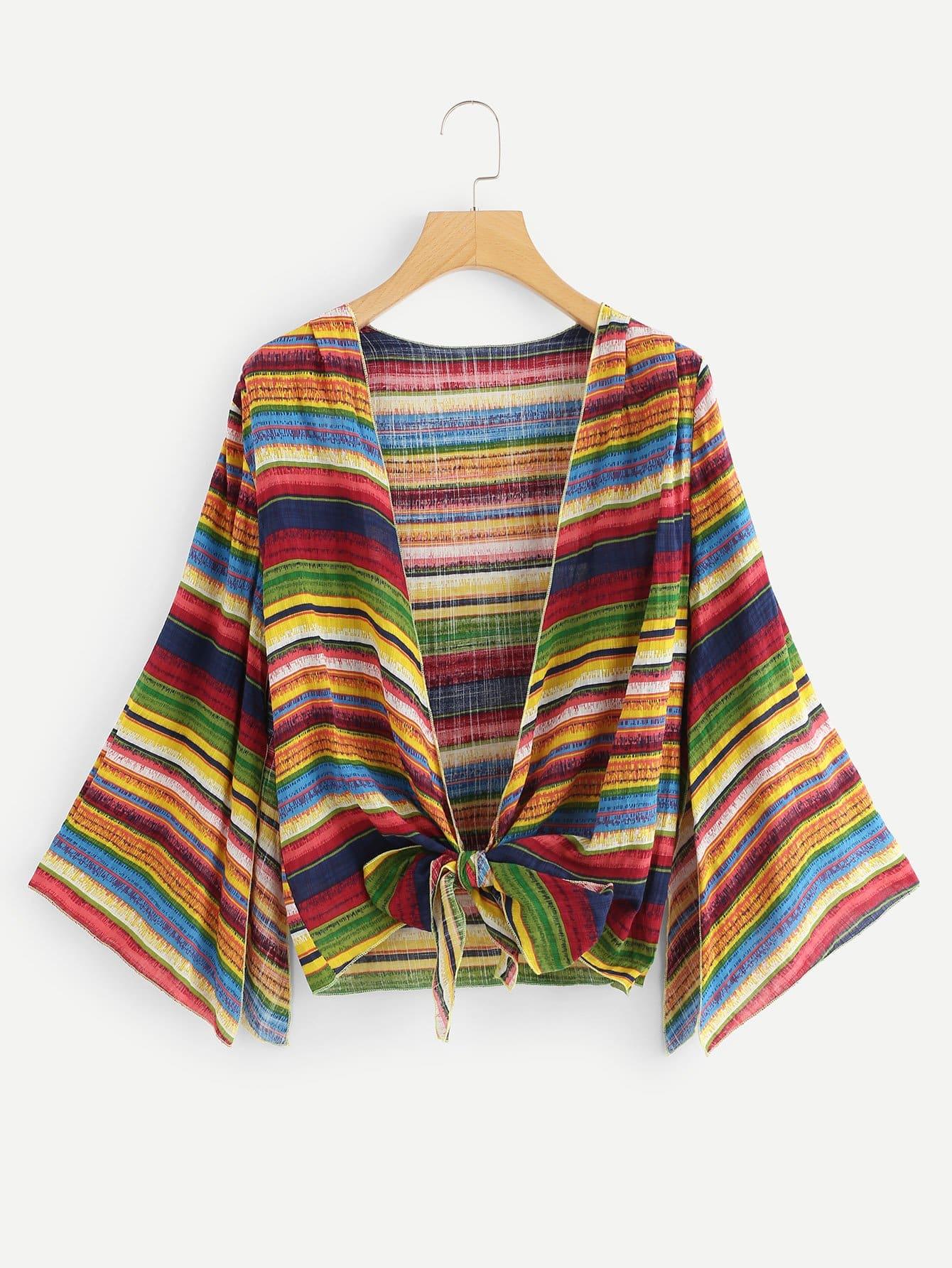 Plus Striped Knot Hem Kimono knot hem star print kimono