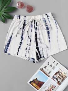 Plus Drawstring Waist Tie Dye Shorts