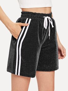 Striped Tape Side Drawstring Waist Shorts