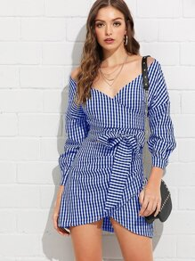 V-Neckline Knot Wrap Plaid Top With Skirt