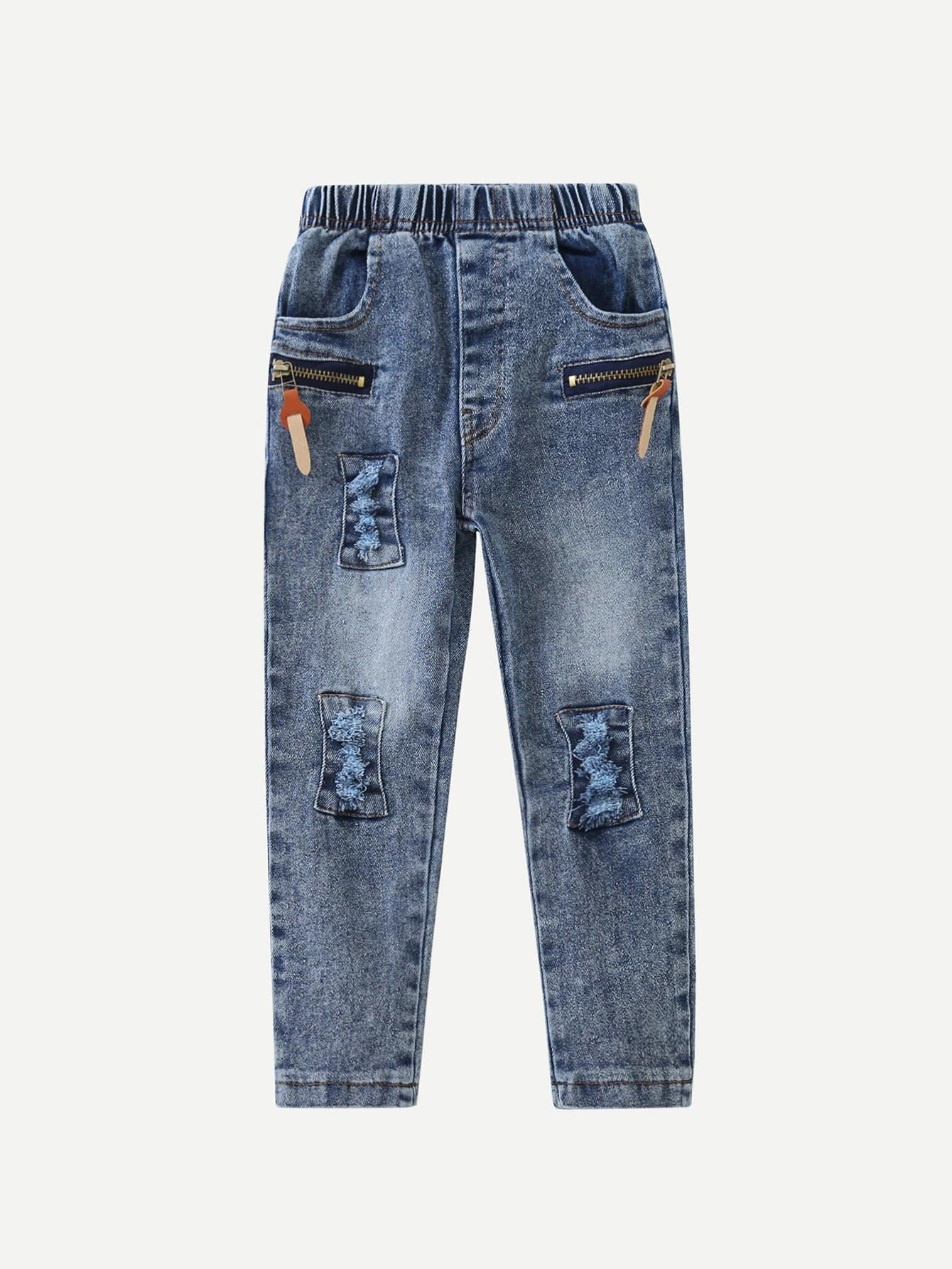 Boys Zip Decoration Destroyed Jeans цена 2017