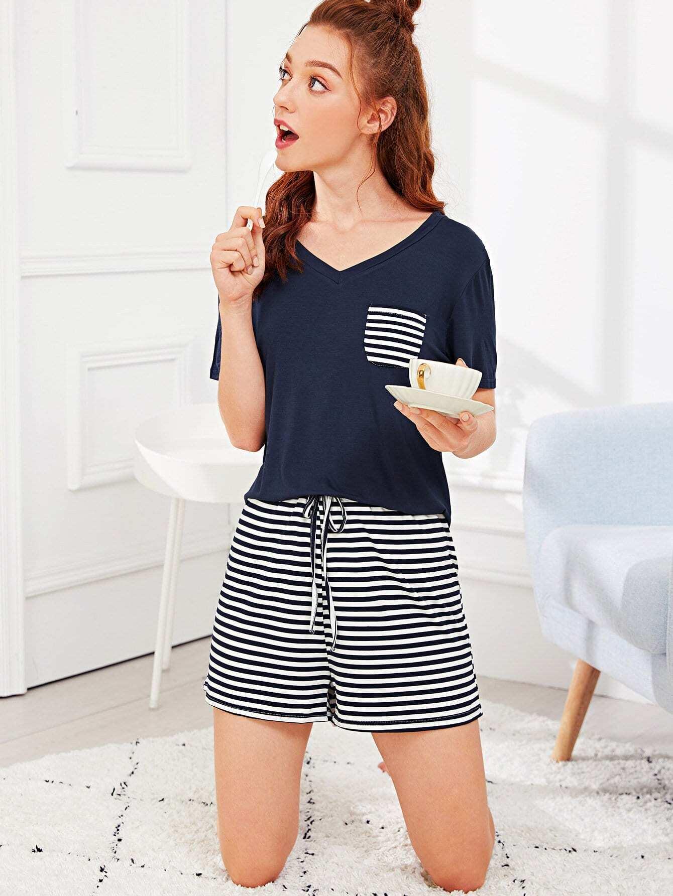 Купить Полосатый Drawstring Талия Pajama Set, Poly, SheIn